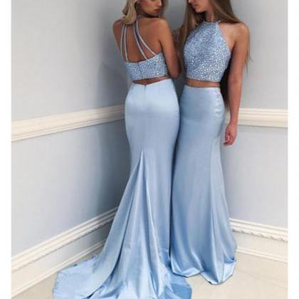 Light Blue Prom Dresses, Mermaid Pr..