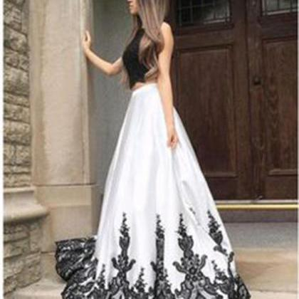White Prom Dresses with Black Lace,..