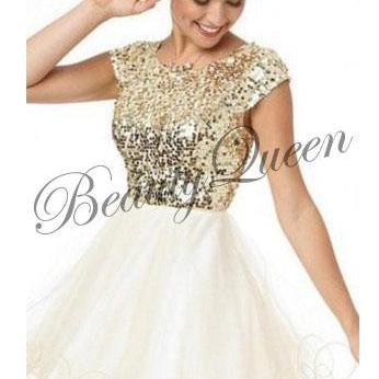 Homecoming Dress,Gold Sequins Homec..