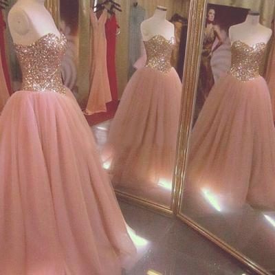 Quinceanera Dresses, Sparkly Sequined Quinceanera Dresses, Long Prom Dresses Ball Gown, Rose Gold Prom Dresses, Formal Sweet 16 Dress, Sweet 15 Dresses, Puffy Tulle Prom Dress Sequined, Pageant Dress, Sweetheart Prom Dresses, Custom Made