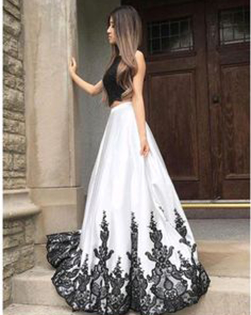 White Prom Dresses with Black Lace, Prom Dresses, Long Prom Dresses, Two Pieces Prom Dresses, Sexy Prom Dresses, 2 Pieces Prom Dresses, 2018 Prom Dresses, Homecoming Dresses, Graduation Dresses, Prom Dresses with Appliques, Custom Made