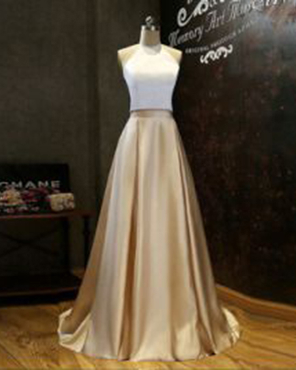 White Gold Prom Dresses, Prom Dresses, Long Prom Dresses, Two Pieces Prom Dresses, Sexy Prom Dresses, 2 Pieces Prom Dresses, 2018 Prom Dresses, Homecoming Dresses, Graduation Dresses, Prom Dresses Satin, Custom Made