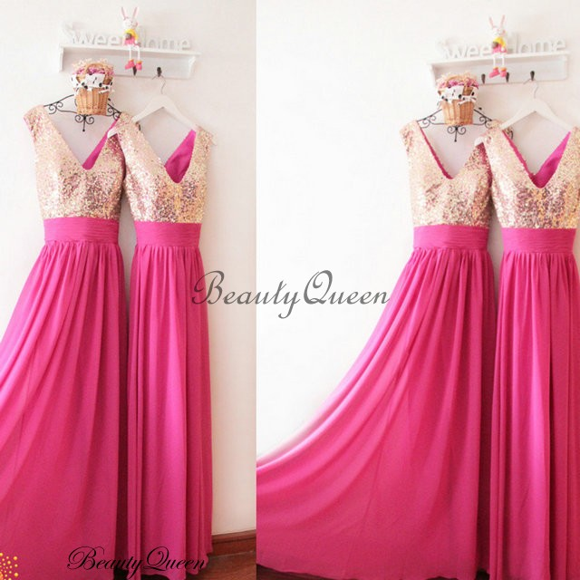 Fuchsia Bridesmaid Dresses Champagne Sequins Chiffon Dress Gold Maid Of Honor Long