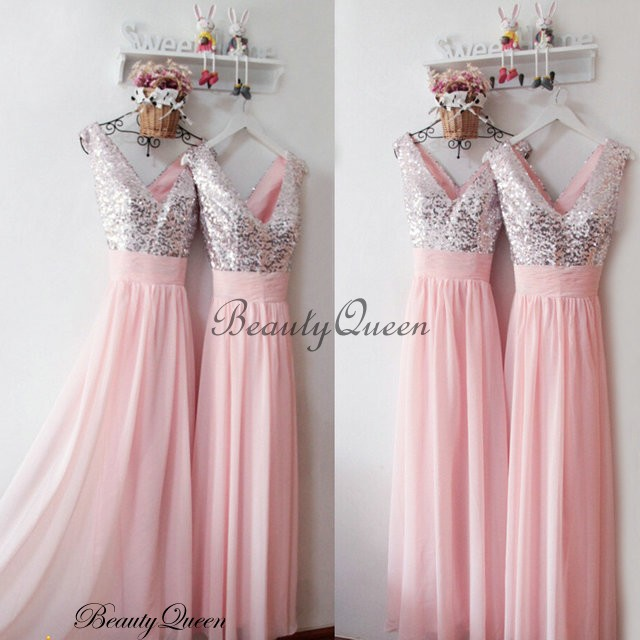 Baby Pink Bridesmaid Dress 2016 , Silver Sequins Bridesmaid Dress ...