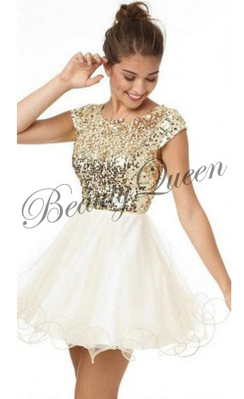 Homecoming Dress,Gold Sequins Homecoming Dress,2016,Ivory Tulle Prom Dress,Short Homecoming Dress,Sexy Short Prom Dress with Cap Sleeves,Graduation Dress