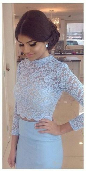 Prom Dresses,Two Pieces Prom Dresses,2 Piece Prom Dresses, 2017 Prom Dresses, Baby Blue Evening Dresses,Lace Prom Dress,Pageant Dress,Prom Dress with Beadings,Two Piece Prom Gowns, 2017