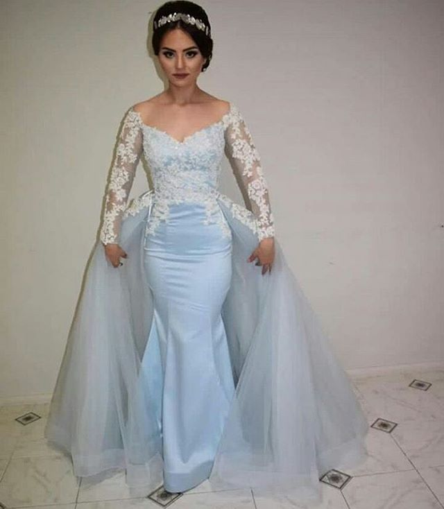 Prom Dresses,Mermaid Prom Gowns,Long Sleeve Prom Dresses,Baby Blue ...