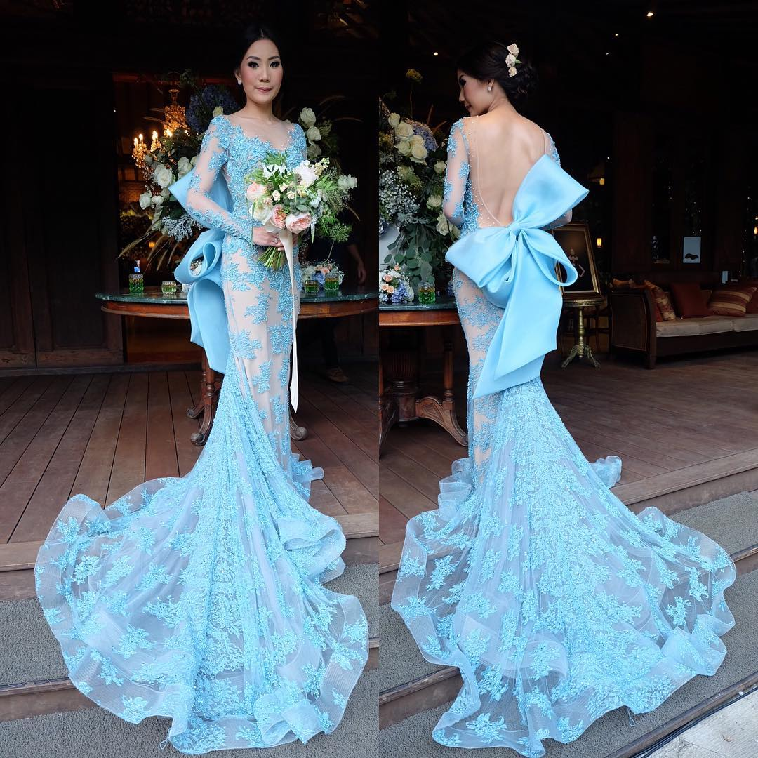 Prom Dresses,Mermaid Prom Gowns,Long Sleeve Prom Dresses,Sky Blue ...