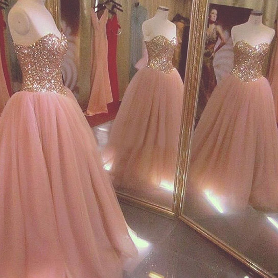 Quinceanera Dresses, Sparkly Sequined Quinceanera Dresses, Long Prom  Dresses Ball Gown, Rose Gold Prom Dresses, Formal Sweet 16 Dress, Sweet 15