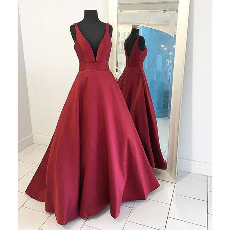 Prom Dresses, Dark Red Prom Dresses, V Neckline Prom Dress, A line Prom Dresses, Long Prom Dresses, Satin Evening Gowns, Evening Dresses, Prom Dresses, Wedding Party Dresses, 2017 Prom Dresses, Custom Made