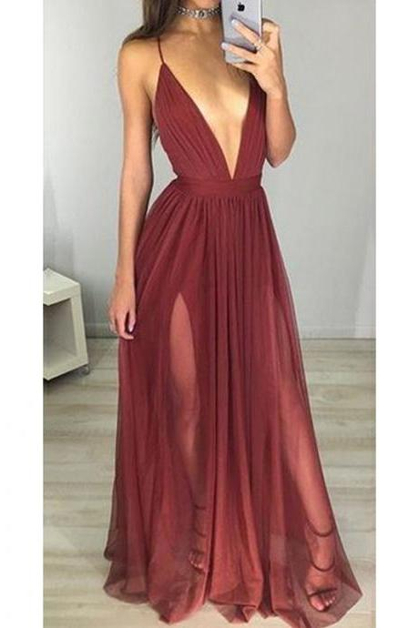 Prom Dresses, Burgundy Prom Dresses, Sexy V-Neck Prom Dress, Long Prom Dresses, Backless Wine Red Prom Dresses, Evening Gowns, Evening Dresses, Pageant Dresses, Wedding Party Dresses, 2017 Prom Dresses, Custom Made, Prom Dresses 2017