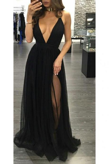 Prom Dresses, Black Prom Dresses, Sexy V-Neck Prom Dress, Long Prom Dresses, Sexy Backless Black Prom Dresses, Evening Gowns, Evening Dresses, Pageant Dresses, Wedding Party Dresses, 2017 Prom Dresses, Custom Made, Prom Dresses 2017