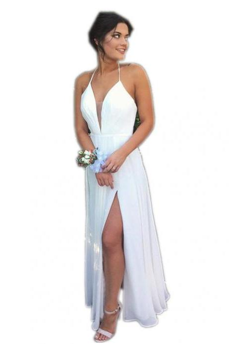 Prom Dresses, Sexy White Prom Dresses, Sexy V-Neck Prom Dress, Long Prom Dresses, Sexy Backless Prom Dresses, White Prom Gowns, Evening Dresses, Pageant Dresses, Wedding Party Dresses, 2017 Prom Dresses, Custom Made, Prom Dress 2017