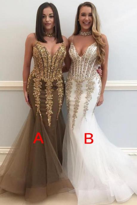 Gold Lace Mermaid Prom Dresses, V Neckline Prom Dresses with Spaghetti Straps,Long Prom Dress 2018,Prom Dresses with Pleats Train, Gold Evening Dresses,White Evening Gowns,Prom Party Dresses,Pageant Dresses,Gold Prom Dresses,Custom Made