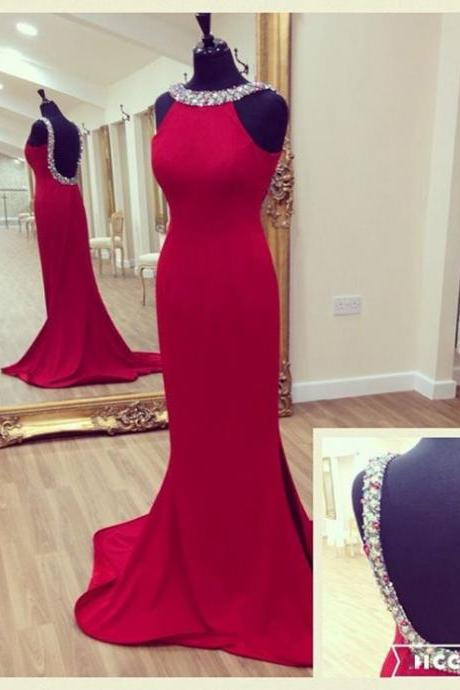 Halter Beaded Mermaid Long Prom Dress, Evening Dress with An Open Back