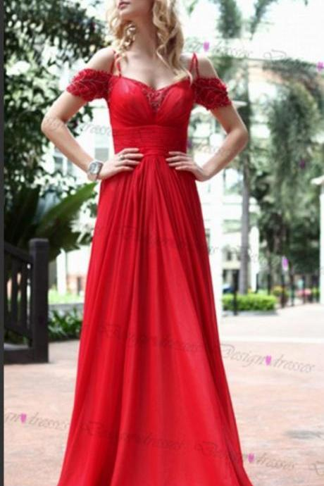 Prom Dress 2018, Red Prom Dresses,Long Prom Dress 2018,Prom Dresses with Cap Sleeve,Evening Dresses,Red Evening Gowns,Prom Party Dresses,Pageant Dresses,Prom Dresses Chiffon,Custom Made
