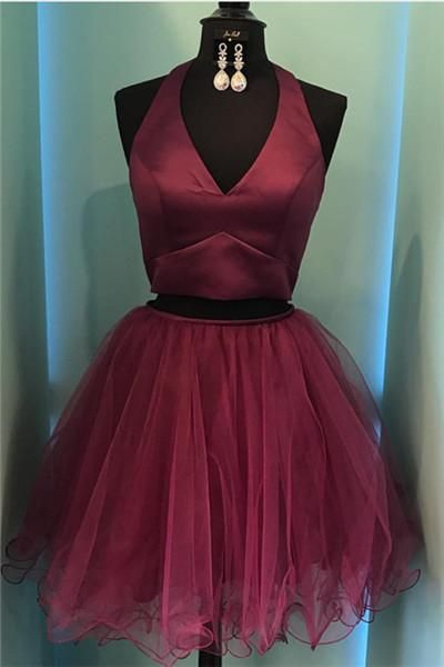 Burgundy Homecoming Dresses, Burgundy Prom Dresses, Short Tulle Prom Dresses, Two Pieces Prom Dresses, Sexy Prom Dresses, 2 Pieces Prom Dresses, 2017 Prom Dresses, Short Homecoming Dresses, Graduation Dresses, Mini Party Dress, Prom Dresses with Beadings, Custom Made