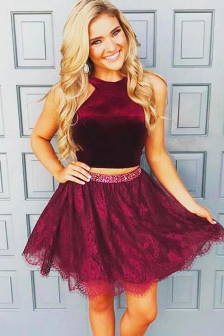 Burgundy Homecoming Dresses, Velvet Prom Dresses, Short Tulle Prom Dresses, Two Pieces Prom Dresses, Sexy Prom Dresses, 2 Pieces Prom Dresses, 2018 Prom Dresses, Short Homecoming Dresses, Graduation Dresses, Mini Party Dress, Prom Dresses with Beadings, Custom Made