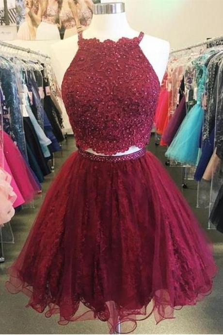 Burgundy Lace Homecoming Dresses, Lace Prom Dresses, Short Tulle Prom Dresses, Two Pieces Prom Dresses, Sexy Prom Dresses, 2 Pieces Prom Dresses, 2018 Prom Dresses, Short Homecoming Dresses, Graduation Dresses, Mini Party Dress, Prom Dresses with Appliques, Custom Made