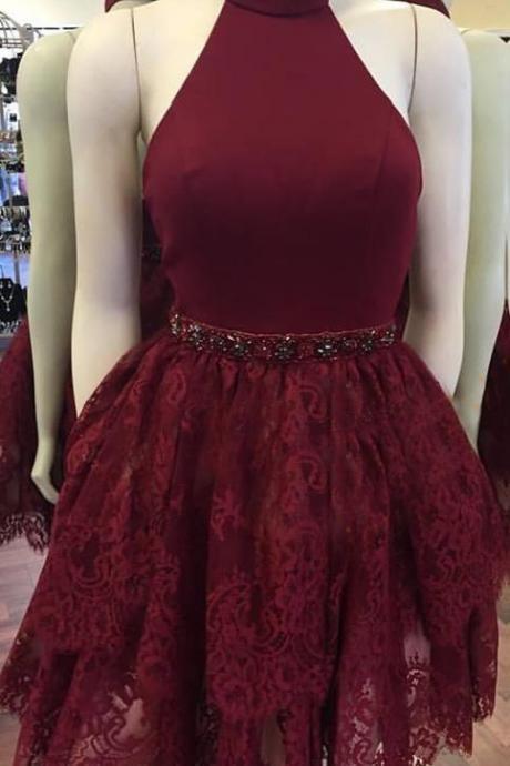 Burgundy Prom Dresses, Lace Homecoming Dresses, Short Lace Prom Dresses, Two Pieces Prom Dresses, Sexy Prom Dresses, Backless Prom Dresses, 2018 Prom Dresses, Short Homecoming Dresses, Graduation Dresses, Mini Party Dress, Prom Dresses with Appliques, Custom Made