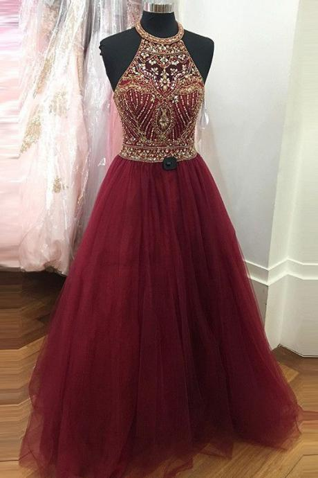 Burgundy Prom Dresses, Long Prom Dresses, Prom Dresses with Gold Beadings, Tulle Prom Dresses, Backless Prom Gowns, Pageant Gowns, 2018 Prom Dresses