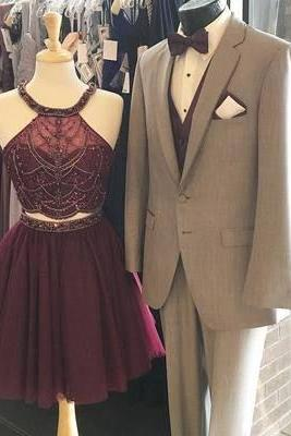 Burgundy Homecoming Dresses, Short Prom Dresses, Short Tulle Prom Dresses, Two Pieces Prom Dresses, Sexy Prom Dresses, 2 Pieces Prom Dresses, 2018 Prom Dresses, Short Homecoming Dresses, Graduation Dresses, Mini Party Dress, Custom Made