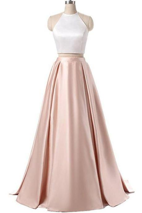 White Pink Prom Dresses, Prom Dresses, Long Prom Dresses, Two Pieces Prom Dresses, Sexy Prom Dresses, 2 Pieces Prom Dresses, 2018 Prom Dresses, Homecoming Dresses, Graduation Dresses, Prom Dresses Satin, Custom Made