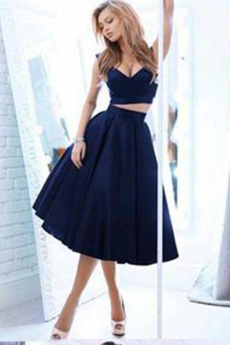 Navy Blue Prom Dresses, Prom Dresses, Long Prom Dresses, Two Pieces Prom Dresses, Sexy Prom Dresses, 2 Pieces Prom Dresses, 2018 Prom Dresses, Homecoming Dresses, Graduation Dresses, Prom Dresses Satin, Custom Made