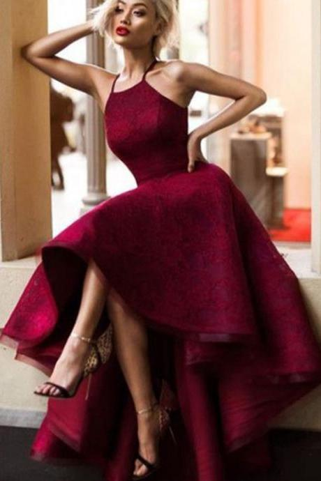 High Low Prom Dress, Burgundy Prom Dresses Ball Gowns, Prom Dresses 2018,Prom Dresses with Halter,Prom Party Dresses,Pageant Dresses,Custom Made