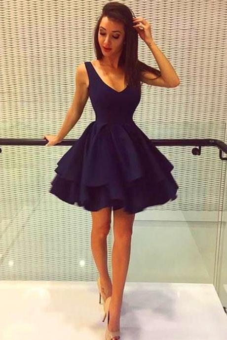 Navy Blue Cocktail Dresses, Short Prom Dresses, Short Party Dresses, Mini Prom Dresses, Sexy Prom Dresses, Prom Dresses 2018 , 2018 Prom Dresses, Short Homecoming Dresses, Graduation Dresses, Mini Party Dress, Custom Made