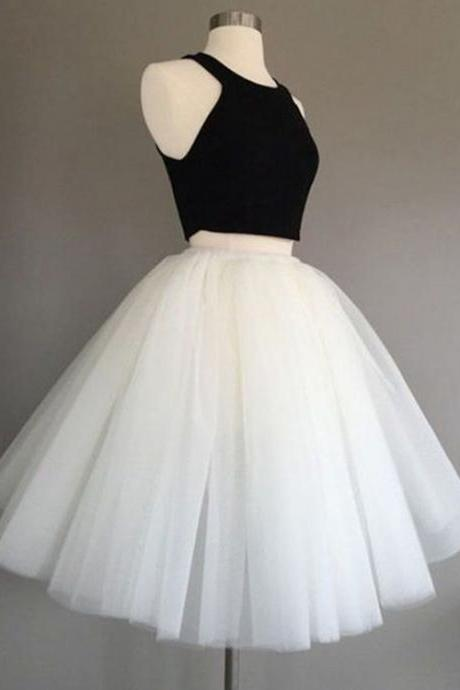 Black White Prom Dresses, Prom Dresses, Tea Length Prom Dresses, Two Pieces Prom Dresses, Sexy Prom Dresses, 2 Pieces Prom Dresses, 2018 Prom Dresses, Homecoming Dresses, Graduation Dresses, Prom Dresses Satin, Custom Made