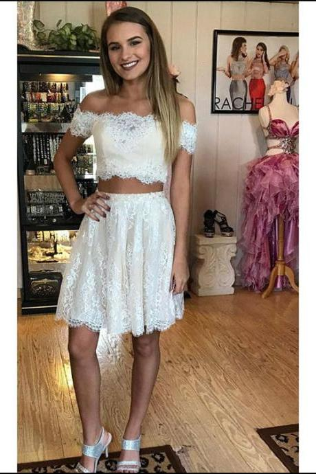 Lace Homecoming Dresses, Lace Prom Dresses, Short Lace Prom Dresses, Two Pieces Prom Dresses, Sexy Prom Dresses, 2 Pieces Prom Dresses, 2018 Prom Dresses, Short Homecoming Dresses, Graduation Dresses, Mini Party Dress, Prom Dresses with Appliques, Custom Made