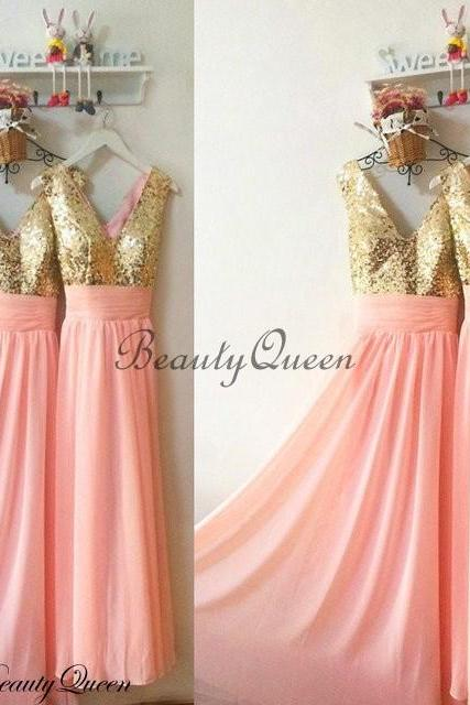 Coral Bridesmaid Dresses, Sequins Bridesmaid Dress,Gold Sequins Bridesmaid Dress, Maid of honor Dress,Long Chiffon Bridesmaid Dresses,V Neck Bridesmaid Dresses 2016,Prom Dress,Evening Dress,Party Dress,Formal Dress