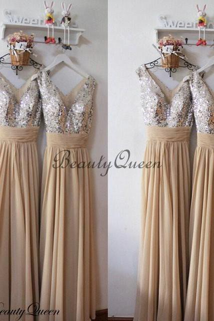 Champagne Bridesmaid Dresses, Chiffon Bridesmaid Dress,Silver Sequins Bridesmaid Dress, Maid of honor Dress,Long Chiffon Bridesmaid Dresses,V Neck Bridesmaid Dresses 2016,Prom Dress,Evening Dress,Party Dress,Formal Dress