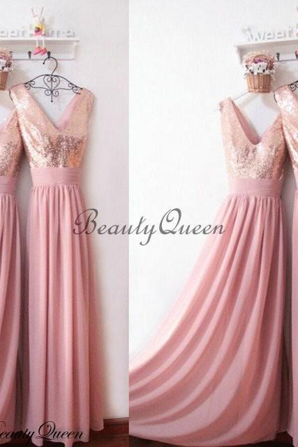Blush Pink Bridesmaid Dresses, Sequins Bridesmaid Dress,Blush Pink Sequins Bridesmaid Dress, Maid of honor Dress,Long Chiffon Bridesmaid Dresses,V Neck Bridesmaid Dresses 2016,Prom Dress,Evening Dress,Party Dress,Formal Dress Backless
