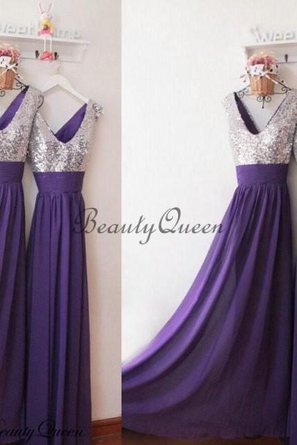 Purple Bridesmaid Dress, Silver Sequins Bridesmaid Dress,Bridesmaid Dress with V Neck,Long Bridesmaid Dress, Long Wedding Party Dress,Sequins Party Gowns,Chiffon Bridesmaid Dress,Custom Made,BQ001