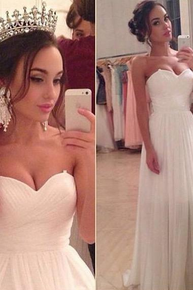 White Bridal Dresses, Beach Wedding Dresses, New Arrival 2016 Wedding Dress,Chiffon Wedding Dresses, Sweetheart Wedding Dresses, Sexy A line Wedding Dress, Bride Dress,Strapless Bridal Gowns, Bridal Wedding Gowns,Floor Length Wedding Gowns, Elegant Bridal Dresses for Beach, Wedding Party Dresses,Custom Made