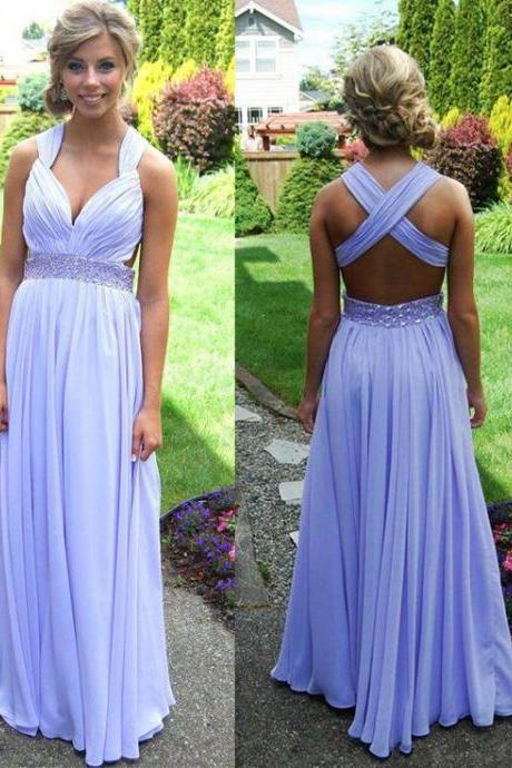 Prom Dress,Long Prom Dress, 2016 Prom Dresses Beaded,Long Party Dresses,Evening Dress,Prom Gown, Chiffon Prom Dress Backless,Pageant Dress,Celebrity Dress
