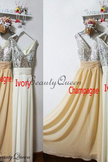 Champagne Bridesmaid Dress,Custom Made,Formal Dress,Silver Sequins Bridesmaid Dress, 2019 Bridesmaid Dress with V Neck,Long Bridesmaid Dress,Wedding Party Dresses,Sparkly Sequins Party Dress, Prom Dress,Ivory Chiffon Bridesmaid Dress,Pageant Dress