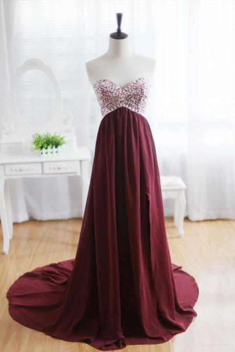 Burgundy Strapless Floor-length A-line Prom Dress with Sweetheart Neckline