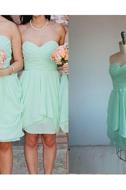 Mint Bridesmaid Dress,Sexy Short Bridesmaid Dress, 2019 Bridesmaid Dress,Sweetheart Bridesmaid Dress,Wedding Party Dresses,Mini Party Dress, Short Prom Dress, Sweetheart Chiffon Bridesmaid Dress