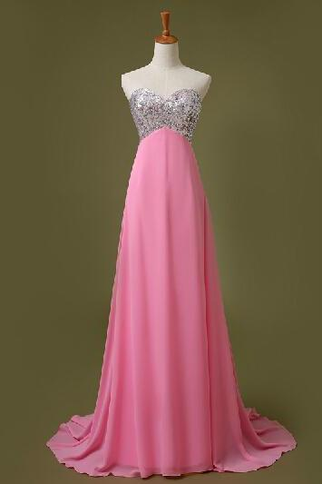 Prom Dresses,Long Prom Dress Sequined, Pink Prom Dresses,Long Party Dresses,2016 Evening Dress,Strapless Prom Gowns, Chiffon Prom Dress Beaded,Pageant Dress,Sweetheart Prom Dress,2016
