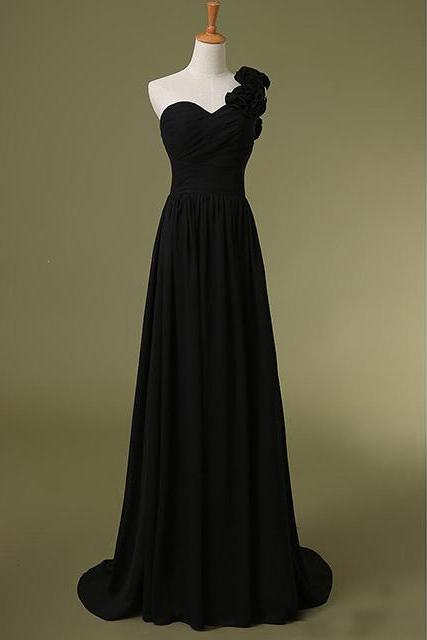 One Shoulder Sweetheart Floor-length Chiffon Dress with Handmade Floral Strap - Bridesmaid Dress