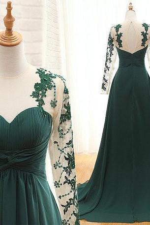 Green Prom Dresses,Long Lace Sleeves Prom Dress 2016, Lace Prom Dresses,Sexy Sheer Sleeves Party Dresses,Evening Dress,Green Prom Gowns, Chiffon Prom Dress Beaded,Pageant Dress,Full Sleeves Prom Dress,Formal Dress,Mother of Brides Dresses