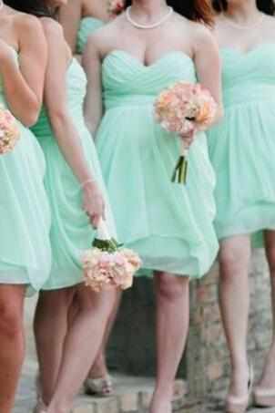 Mint Bridesmaid Dresses,Sexy Short Bridesmaid Dress, 2016 Bridesmaid Dress,Sweetheart Bridesmaid Dress,Short Wedding Party Dresses,Mini Party Dress, Short Prom Dress,Chiffon Bridesmaid Dress