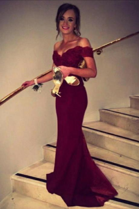 Prom Dresses,Mermaid Prom Dresses,Long Prom Dress 2016,Burgundy Lace Prom Dresses Beaded,Evening Dresses, Lace Evening Gowns,Formal Dress,Off The Shoulder Prom Dresses,Custom Made
