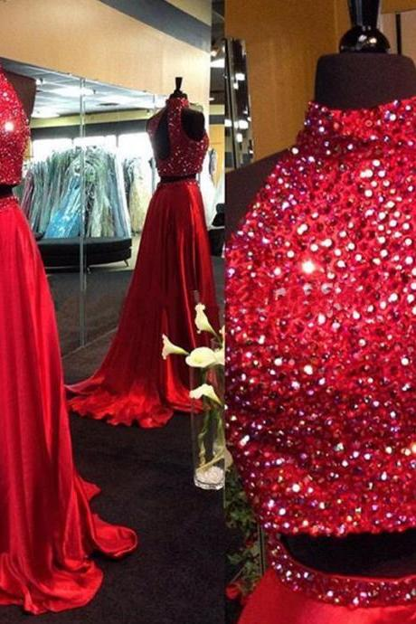 Two Pieces Prom Dresses,2 Piece Prom Dresses, 2016 Prom Dresses, Dark Red Evening Dresses,Beaded Prom Gowns,Burgundy Prom Dresses,Burgundy Pageant Dress,Prom Dress with Beadings,Prom Dresses