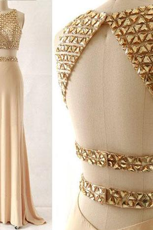 Two-piece Gold Beaded Floor Length Prom Dress