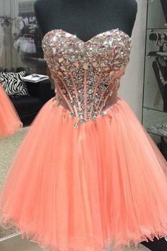 Homecoming Dresses,Sweetheart Homecoming Dress 2016,Coral Prom Dress,Short Tulle Homecoming Dress,Sexy Sheer Through Prom Dress
