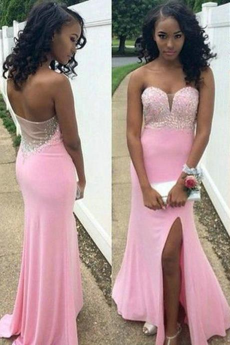 Prom Dresses, Pink Prom Dresses with Split Side, 2016 Prom Dresses with Sweetheart, Evening Dresses,Prom Gowns Formal Dresses,Sexy Prom Dress with Beadings